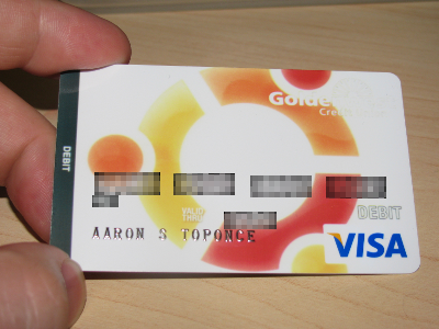 Picture of an Ubuntu logo branded debit card