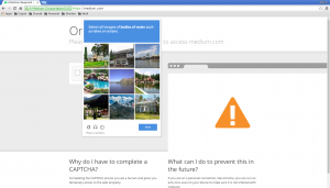Screenshot of Chromium showing the need to solve a visual coptcha while trying to browse medium.com while connected to Tor.