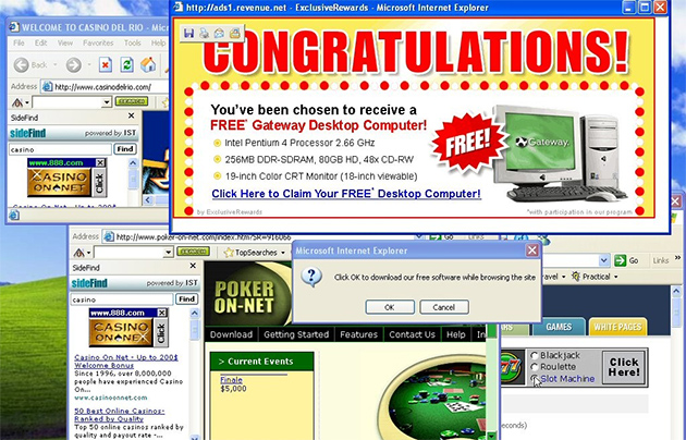 Screenshot showing a Windows XP desktop littered with ad popups.