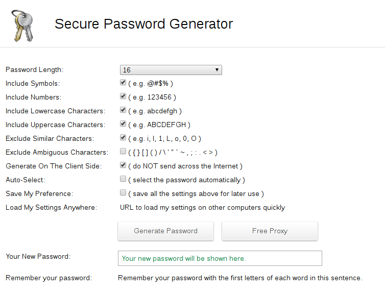 "Screenshot showing a ""secure"" password generator from a website."