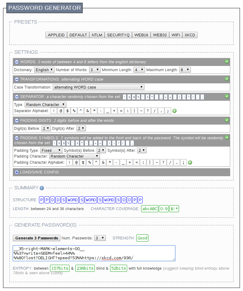 Screenshot showing a very complex control board of an XKCD style password generator.
