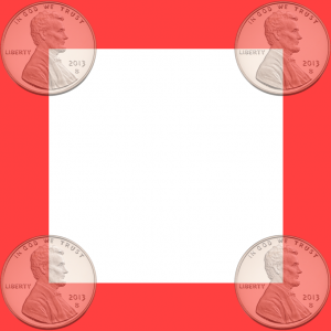 Grid square showing where the coin center must lie to cross an edge.
